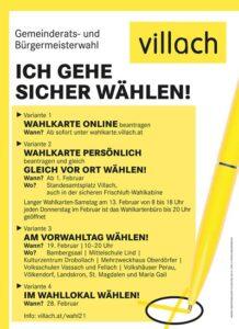 Wahlkartenantrag möglich @ Wahlinformation per Post oder Online über villach.at
