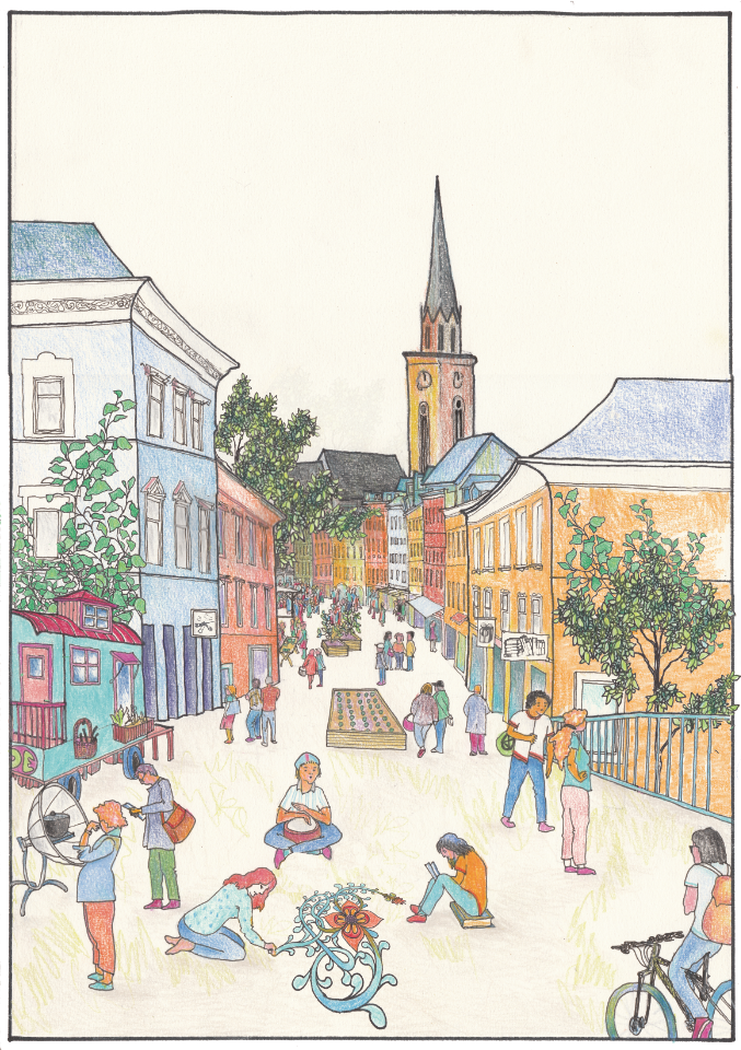 essbare stadt illustration